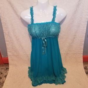 Womens Blue Lace Nighty